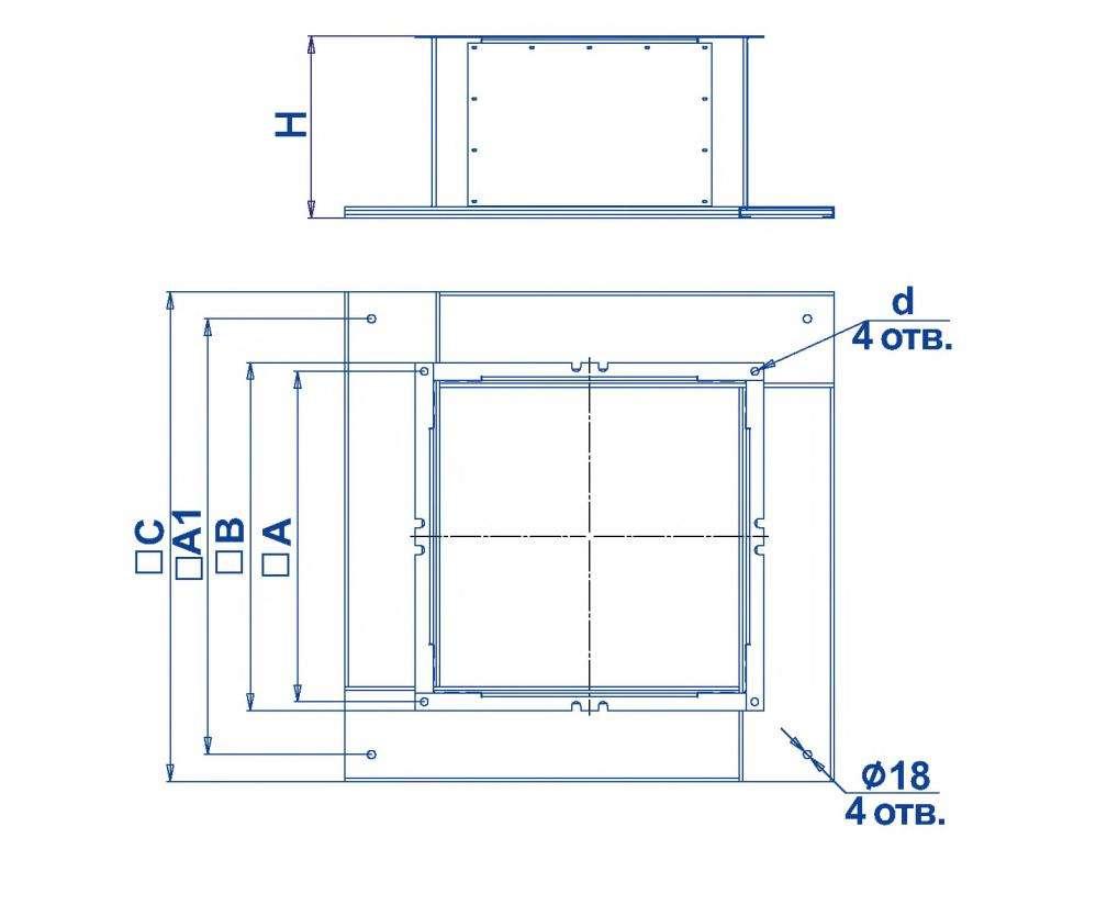 Габаритные и присоединительные размеры стакана MONST