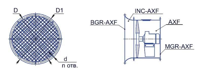 MGR-AXF Габаритные и присоединительные размеры